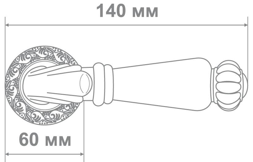 Ручка Alemar A8230-20 BCF( BRUSHED)+CREAM CERAMIC кофе глянец+беж.керамика (10 шт)