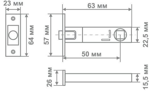 Защелка магнитная Медио ML502(45*10) CF (кофе) (100 шт)