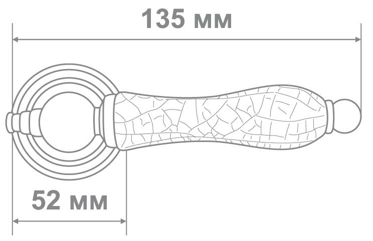 Ручка Аделли 6305-22 CP/WHITE CRACKED хром/белый краколет (10)