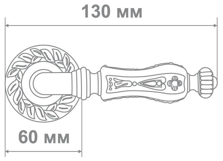 Ручка Alemar A7881-65 PCF+CREAM GLUE кофе глянец+беж.залив. (10 шт)