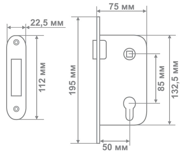 Магнитный замок Медио М-ET MCF кофе  (85мм) (50 шт)